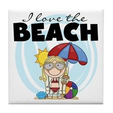 Blond Girl Love the Beach Tile Coaster
