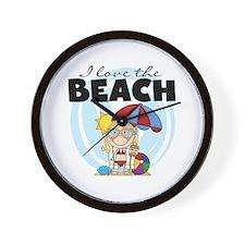 Blond Girl Love the Beach Wall Clock