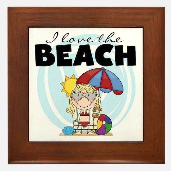 Blond Girl Love the Beach Framed Tile