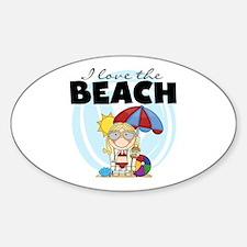 Blond Girl Love the Beach Decal