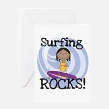 AA Girl Surfing Rocks Greeting Card