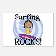 AA Girl Surfing Rocks Postcards (Package of 8)