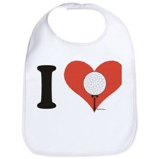 Cute I love golf Bib