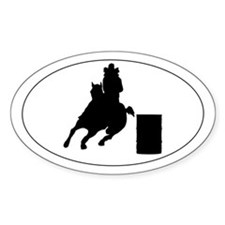 Barrel horse and rider - Oval Decal