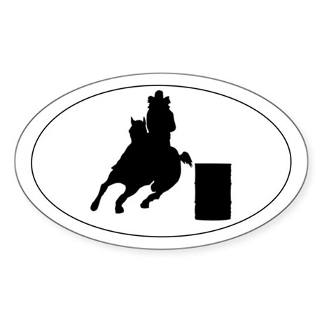 Barrel horse and rider - Oval Sticker