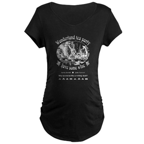 Wonderland tea party Maternity Dark T-Shirt