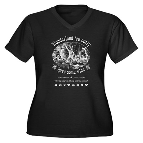Wonderland tea party Women's Plus Size V-Neck Dark