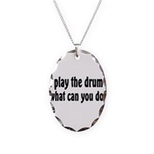 Funny Drum and bass Necklace Oval Charm