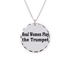 Real Women Play Trumpet Necklace Circle Charm