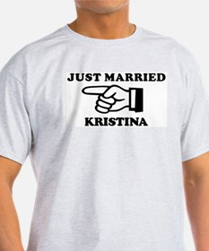 Just Married Kristina Ash Grey T-Shirt