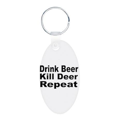 Drink Beer, Kill Deer Aluminum Oval Keychain