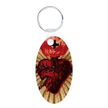 Sacred Heart of Jesus Aluminum Oval Keychain