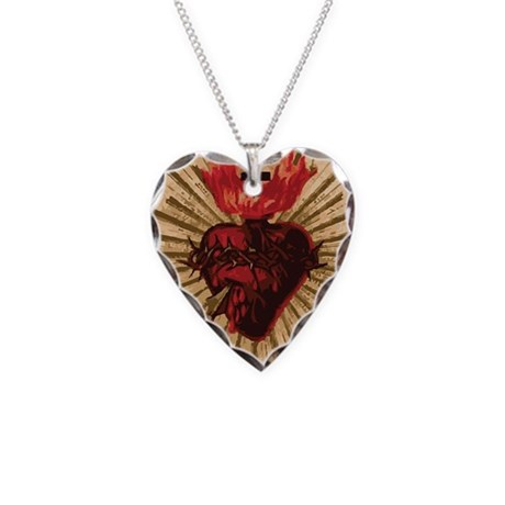 Sacred Heart of Jesus Necklace Heart Charm