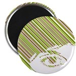 "Retro Stripe Girls Face 2.25"" Magnet (100 Pk)"