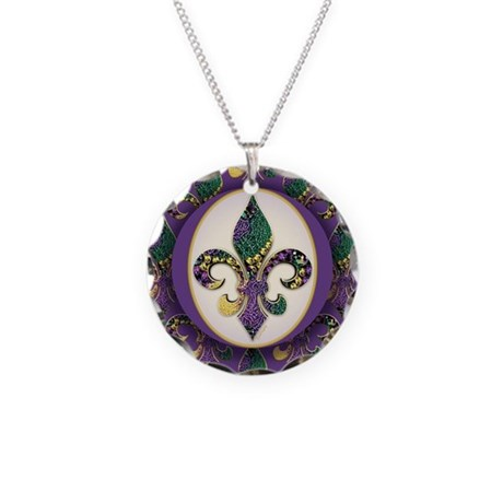 Fleur de lis Mardi Gras Beads Necklace Circle Char