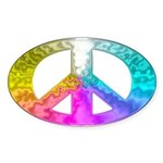 Peace Rainbow Splash Sticker (Oval)