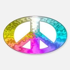 Peace Rainbow Splash Sticker (Oval)