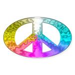 Peace Rainbow Splash Sticker (Oval 10 pk)