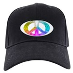 Peace Rainbow Splash Black Cap