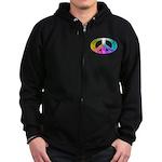 Peace Rainbow Splash Zip Hoodie (dark)