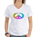 Peace Rainbow Splash Women's V-Neck T-Shirt