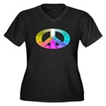 Peace Rainbow Splash Women's Plus Size V-Neck Dark