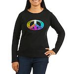 Peace Rainbow Splash Women's Long Sleeve Dark T-Sh