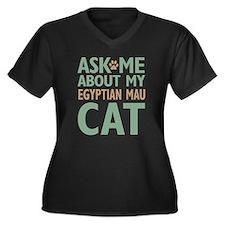 Egyptian Mau Cat Women's Plus Size V-Neck Dark T-S