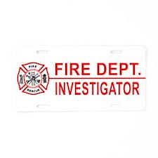 Fire Dept Investigator Aluminum License Plate