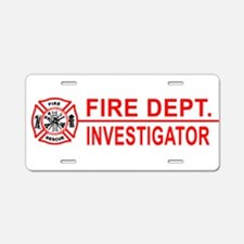 Fire Dept Investigator Aluminum License Plate