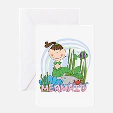 Brunette Mermaid Greeting Card