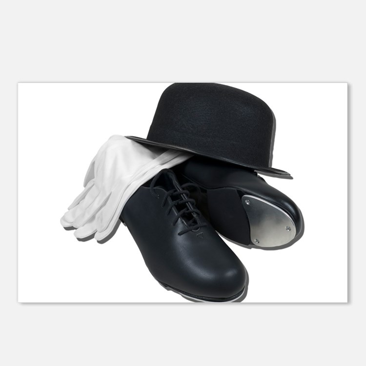 Tap Shoes Bowler Hat Gloves Postcards (Package of
