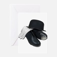 Tap Shoes Bowler Hat Gloves Greeting Card
