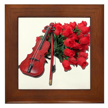 Violin on Bouquet Roses Framed Tile