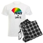 Rainbow Peace Love Men's Light Pajamas