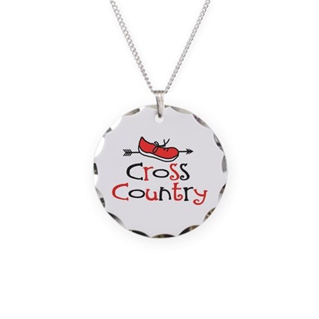 Cross Country Shoe Necklace Circle Charm