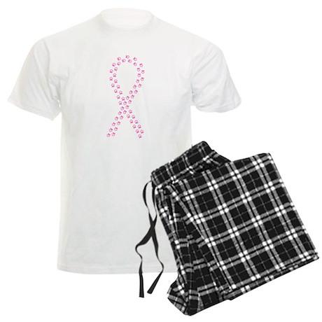 Pink Paw Ribbon Men's Light Pajamas