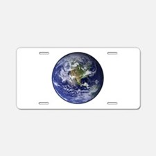 Western Earth from Space Aluminum License Plate