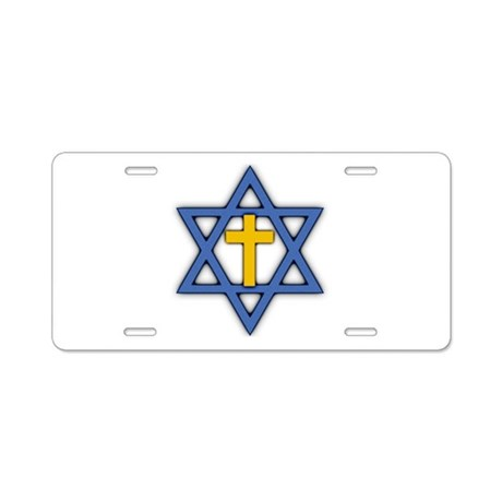 Star of David with Cross Aluminum License Plate