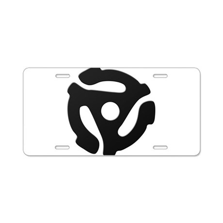 Black 45 RPM Adapter Aluminum License Plate
