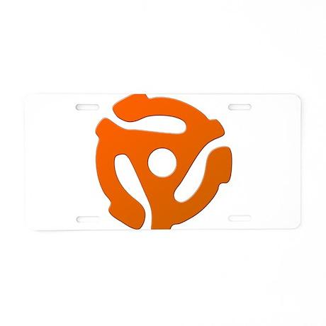 Orange 45 RPM Adapter Aluminum License Plate