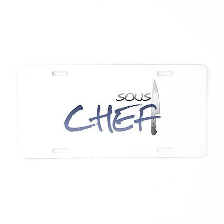 Blue Sous Chef Aluminum License Plate