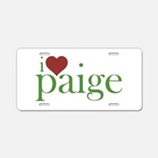 I Heart Paige Aluminum License Plate