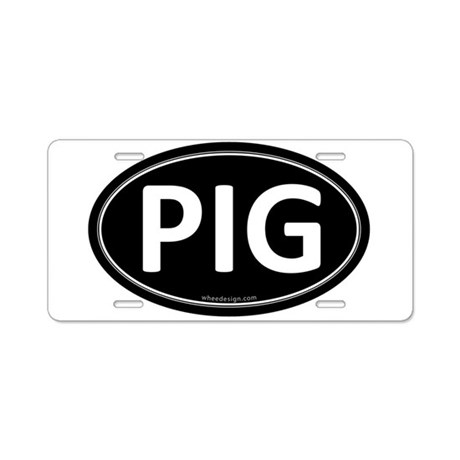PIG Black Euro Oval Aluminum License Plate