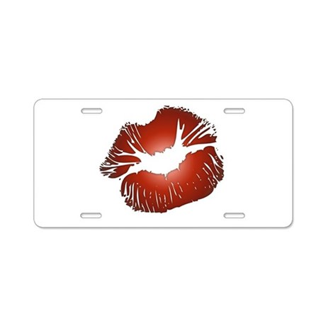 Red Lips Kiss Aluminum License Plate