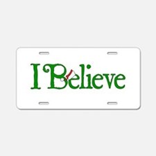 I Believe with Santa Hat Aluminum License Plate