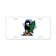 Penguin with Tree Aluminum License Plate