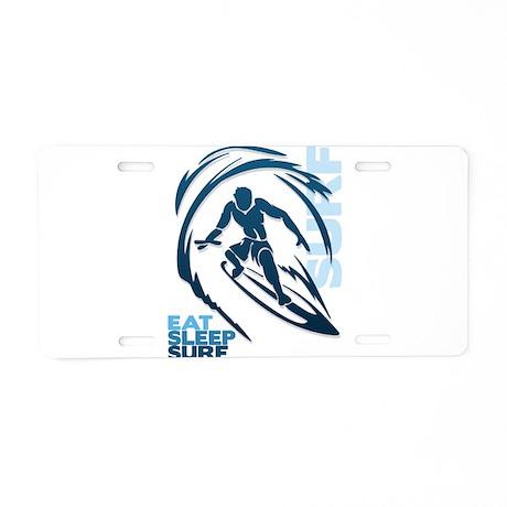 Eat Sleep Surf Aluminum License Plate
