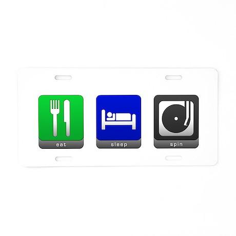 Eat, Sleep, Spin Aluminum License Plate