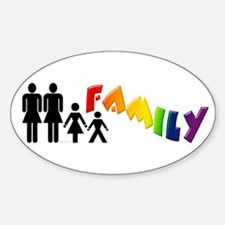 Lesbian Pride Family Oval Decal